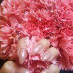 Rosé Chrom Nails Blumen