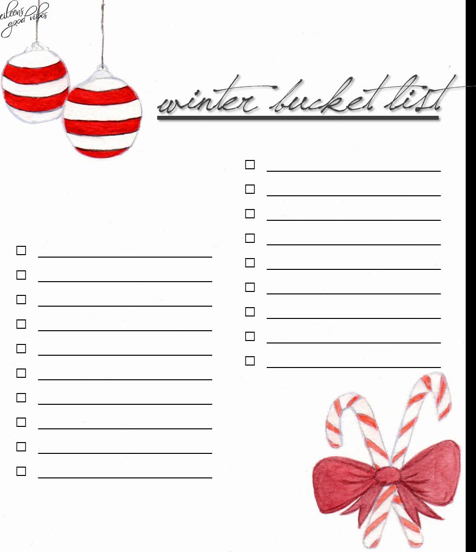 Winter Bucket List, Hygge, eileens good vibes, Free Datei