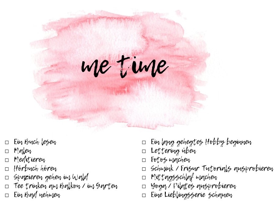 me time bucket List, Zeit für mich, Achtsamkeit, mindnessfull, mindset